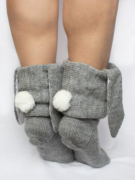 loom knitted brown socks slipper socks long socks one size fits all warm socks thick socks house guest socks 1 pair basket filler