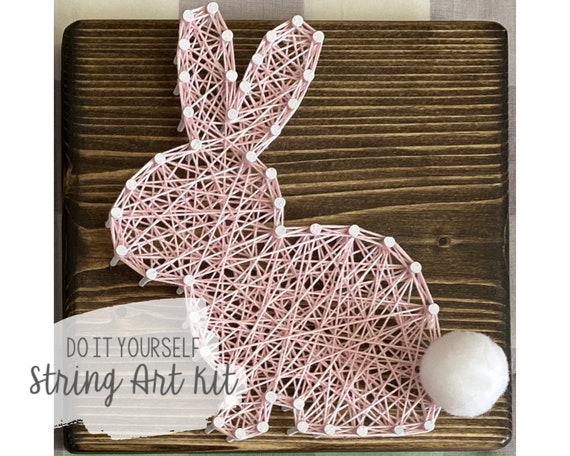 DIY Bunny String Art Kit  5.5x5.5 pine wood  Easy for beginners  Great Easter day gift Kids adults and teens  Free Shippingvideo