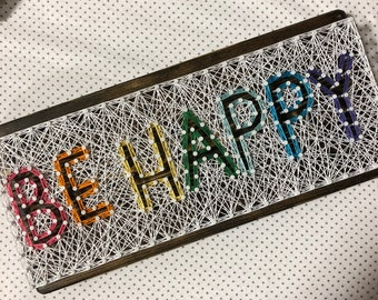 Be Happy Rainbow String Art Sign