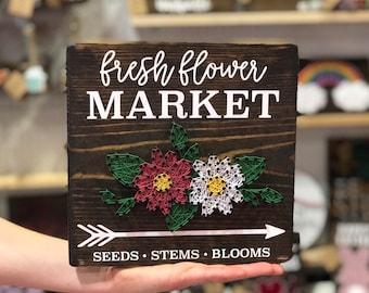 Fresh Flower Market String Art, Flower Market Sign, Spring Farmhouse Decor