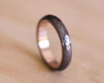 Hammered & Domed Tantalum Ring with a Rose Gold Liner - Dark Blue Grey Tantalum