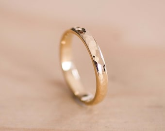 18 Carat Hammered Solid Yellow Gold Wedding Ring with Subtle Dome