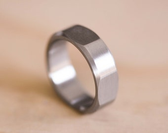 Geometric Stainless Steel Ring - 4 Flats and a Chamfered Edge