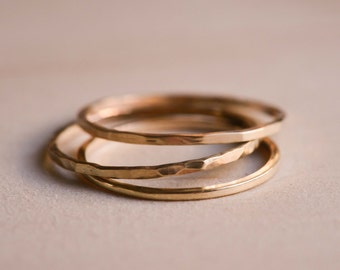 Solid Yellow Gold Textured Stacking Rings x 3