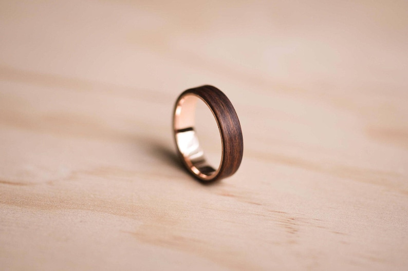 Solid Rose Gold Liner and Santos Rosewood Bentwood Ring image 0