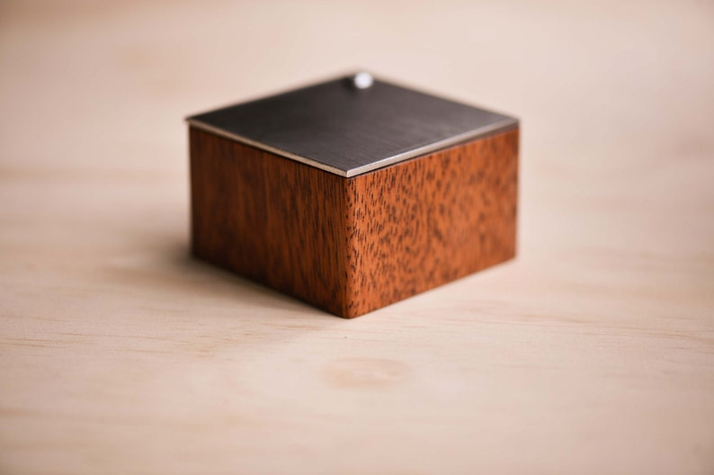 Merbau Wooden Ring Box Brushed Stainless Steel Lid with Moss