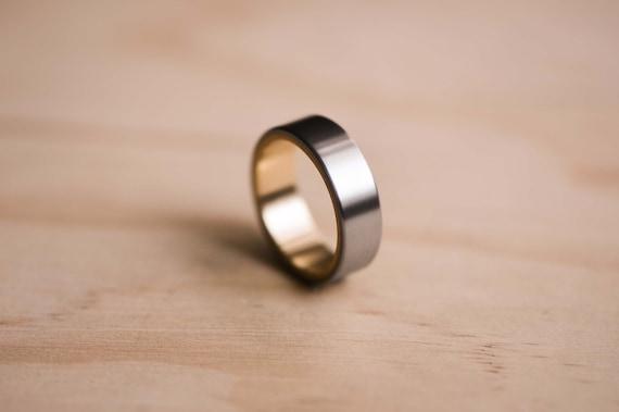 Grey Titanium Gemstone Ring Brushed 12 mm Multi-color Sapphire Bezels Ring