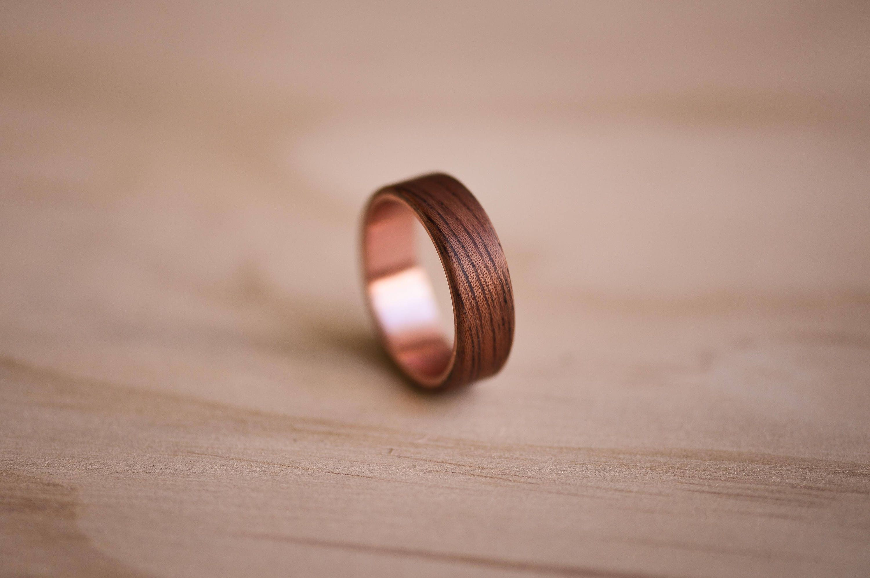 Etimoe & Copper Bentwood Ring | Etsy