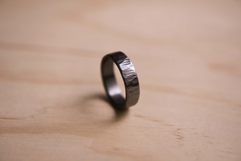 Tantalum Ring with a Wide Straight Texture  Dark Blue Grey image 0