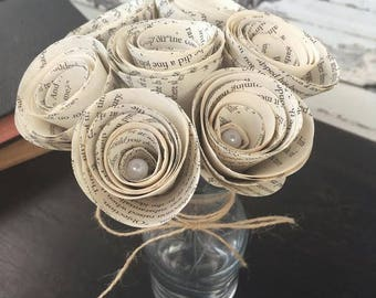 Book Wedding Decor - Book Page Flowers - Wedding Table Centerpiece - Book Lover Gift - Book Roses - Paper Flower Centerpiece - Book Page Art