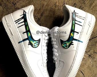 Nike Air Force 1 Low Black with FF Peekaboo Eyes Inspired   Etsy