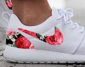 low priced 7caeb 370ee Nike Roshe White with Custom Red Rose Floral Design