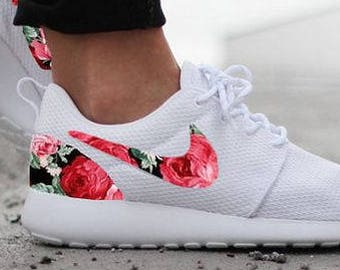 1a75e496a083 Nike Roshe Run Womens White with Custom Black Pink Rose Floral Print