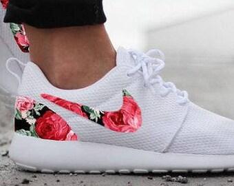 Nike Roshe Womens White Custom Red Pink Floral Design Fabric. DenisCustoms  ... d846189e0