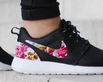 1b41392563028 Nike Roshe Run One Black with Custom Pink Floral Print