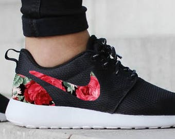 7c10c9201e85 Nike Roshe One Black with Custom Red Rose Floral Fabric Design