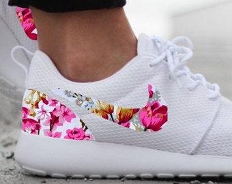 10094364001c7 Nike Roshe Run Womens White with Custom Pink Floral Print