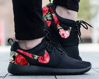 release date: 34d36 929eb Nike Roshe Triple Black with Custom Red Pink Green Rose Floral Fabric Design