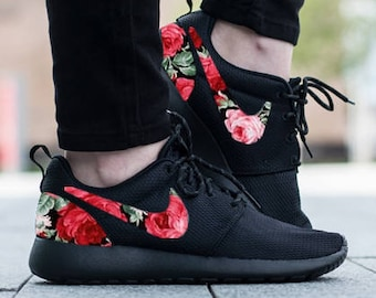 000fecae75b5f Nike Roshe Triple Black with Custom Red Pink Green Rose Floral Fabric Design