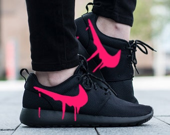 Nike Roshe Triple Black with Custom Pink Candy Drip Swoosh Paint 8698d9015