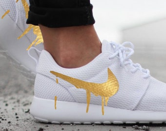 premium selection 5ebfc 9ddfc Nike Roshe Run One White with Custom Gold Candy Drip Swoosh Paint