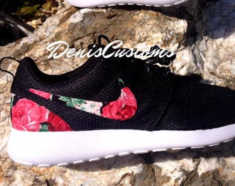 competitive price 990e1 e3bd2 Nike Roshe Black White with Custom Pink Red Rose Floral Print