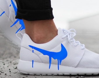 81f532988c64 Nike Roshe Run One White with Custom Blue Candy Drip Swoosh Paint
