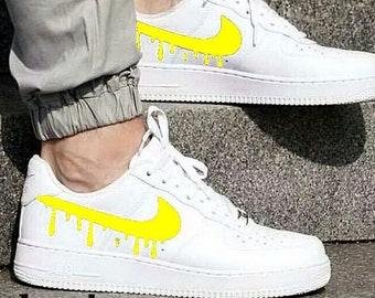 7c3f393708 Nike Air Force 1 Low White with Yellow Candy Drip Design