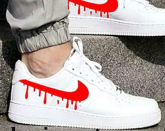 Nike Air Force 1 Low with Candy Drip Design   White nike