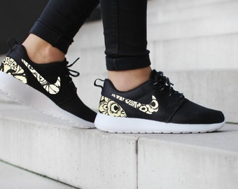 Nike Roshe Run One Black with Custom Black White Floral Print - Womens size  US 8.5 is Ready to SHIP !!! DenisCustoms 14f3c70a6
