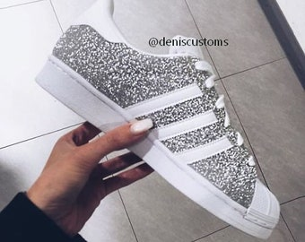 half off b232b 8c0c0 Adidas Superstar Silver Glitter Custom Design