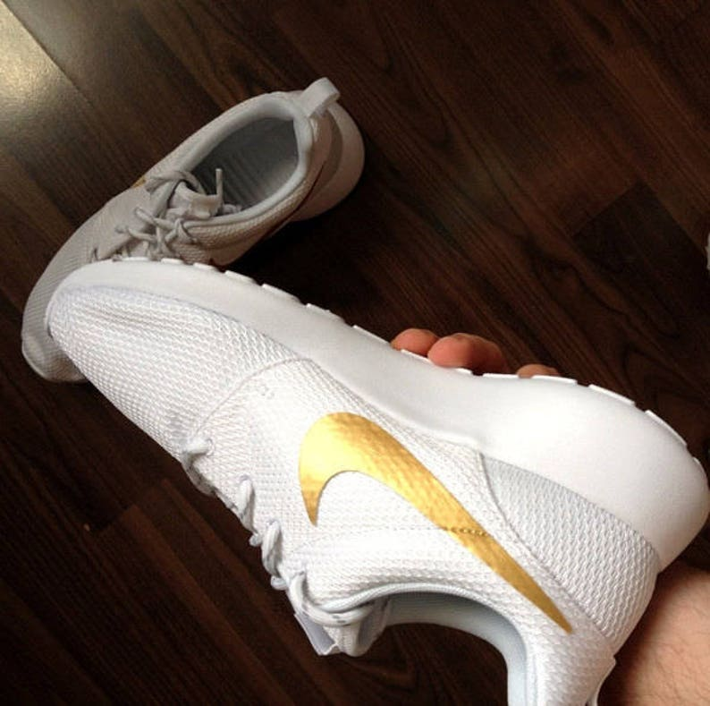 Nike Roshe White with Custom Gold Swoosh Paint  944466365