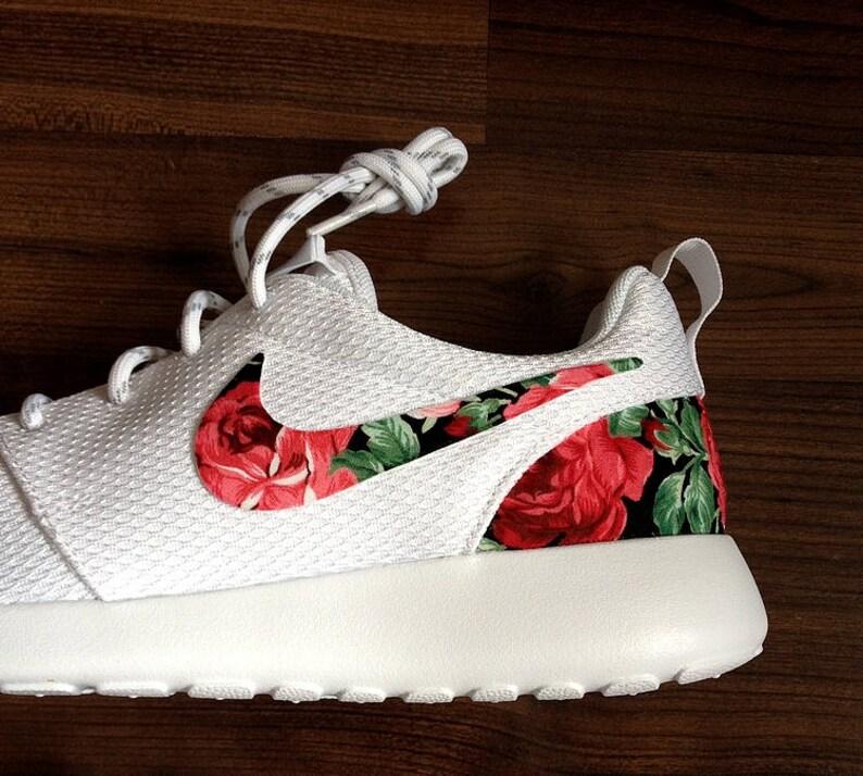 Nike Roshe White with Custom Red Rose Floral Design