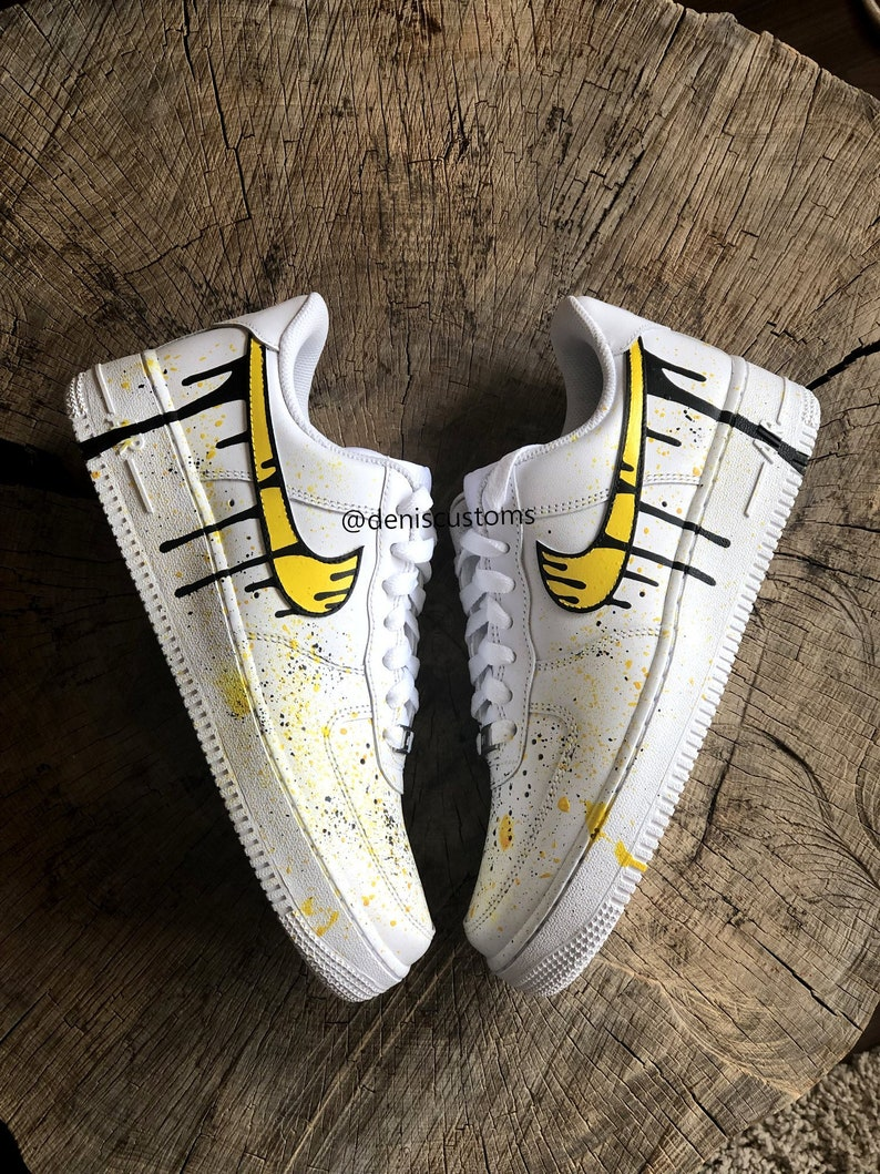 bc551ab9cce Nike Air Force 1 Low with Yellow and Black Drip Design