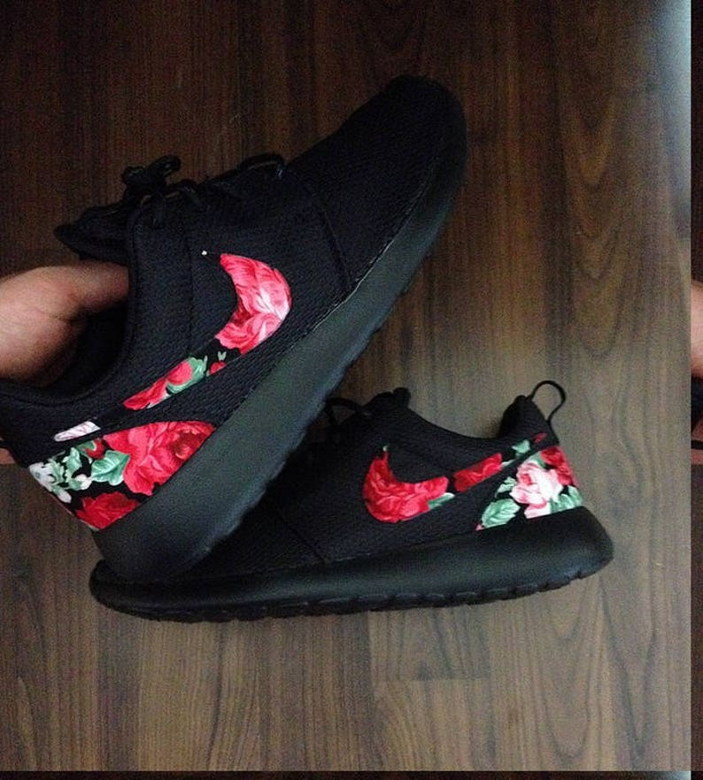 Black Nike Roshe with Red Pink Floral Print  dc5637158