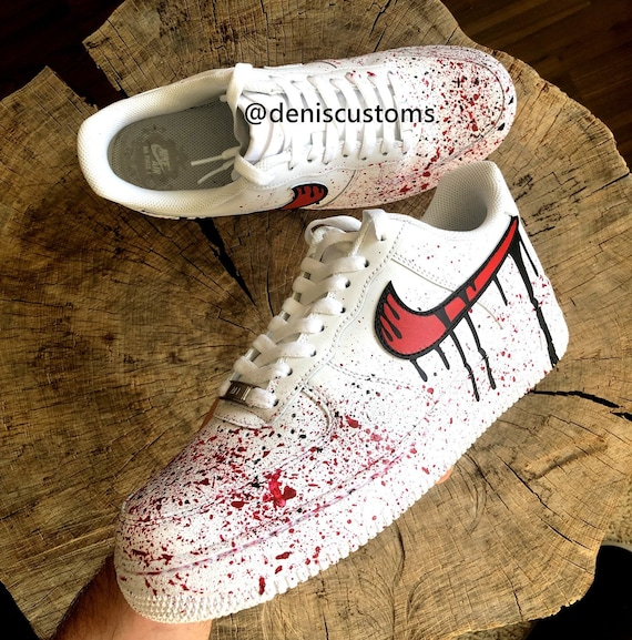 Nike Air Force 1 Low with Red Black Blood Drip Design | Etsy