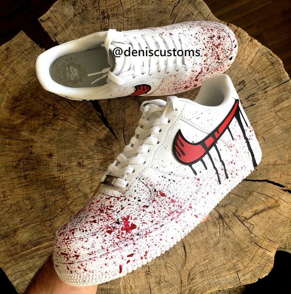 nowy autentyczny najlepiej tanio specjalne wyprzedaże Nike Air Force 1 Low with Red Blood and Black Drip Design