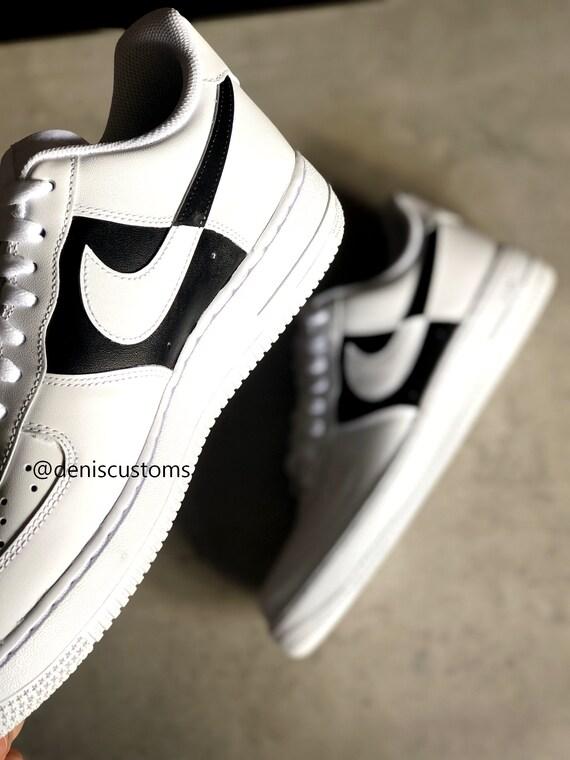 Nike Air Force 1 Black White Swoosh Cut Custom Design
