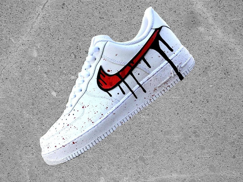 pretty nice 468ed 1239a Nike Air Force 1 Low with Red Black Blood Drip Design  Etsy