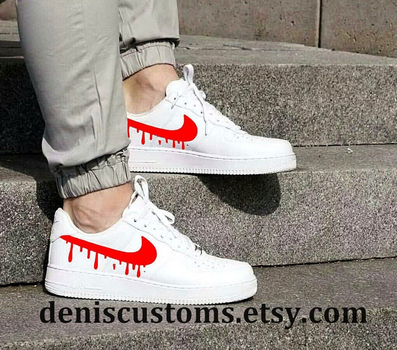 Nike Air Force 1 Low White with Red Candy Drip Design  14e132dcc