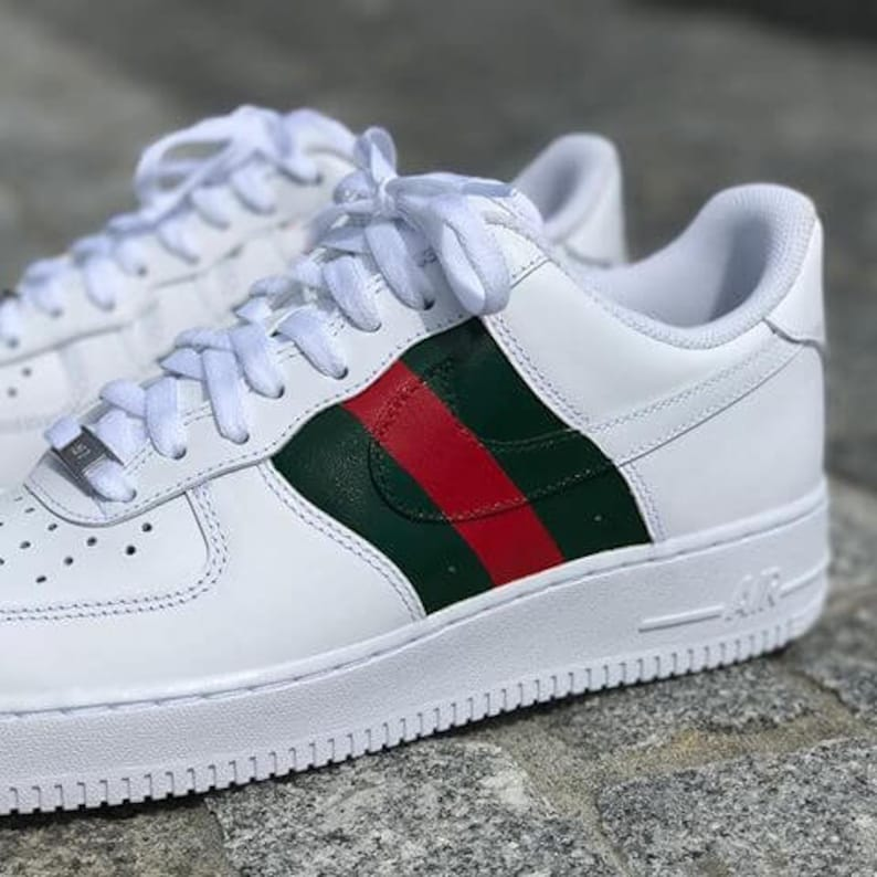 release date 15251 14e20 Nike Air Force 1 Low with Gucci Inspired Design   Etsy