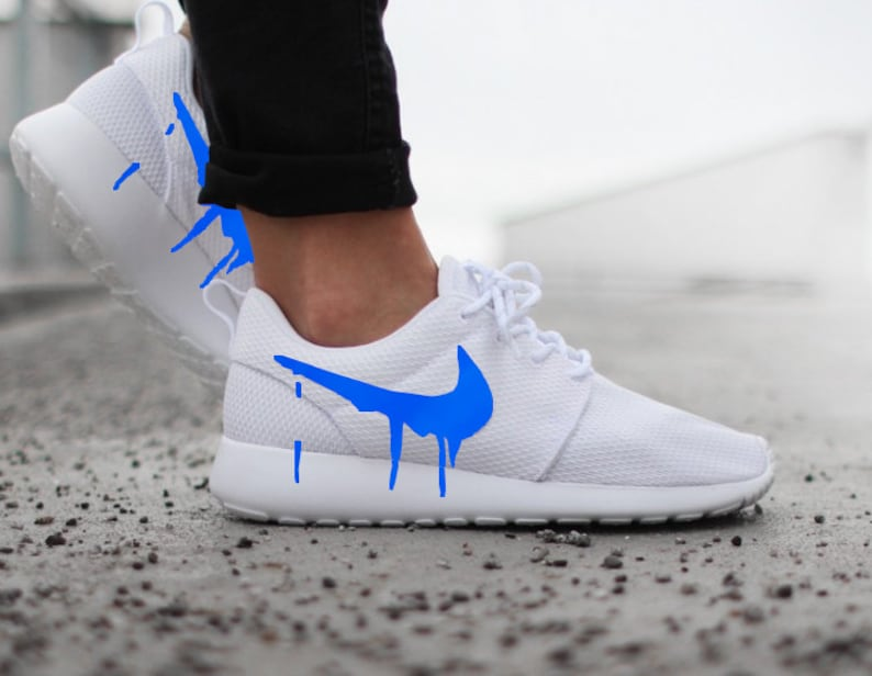 24722b57ab28 Nike Roshe Run One White with Custom Blue Candy Drip Swoosh