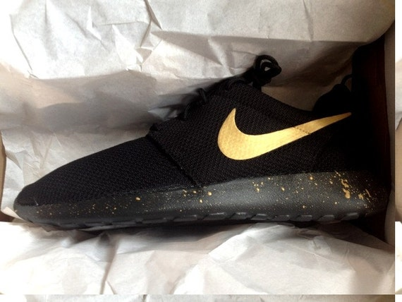 Metallic Gold Swoosh Custom Nike Roshe One Black by