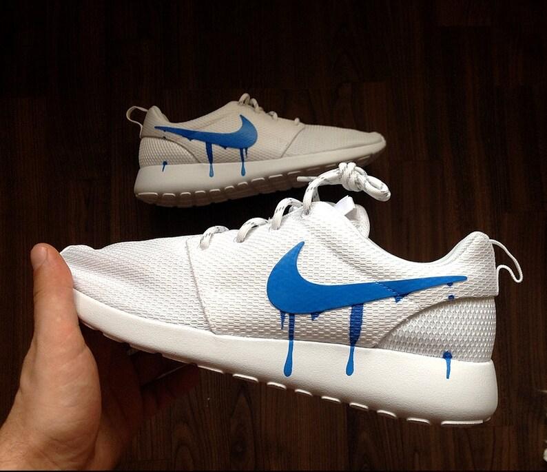 Nike Roshe Run One White with Custom Blue Candy Drip Swoosh  d4d5d85d3