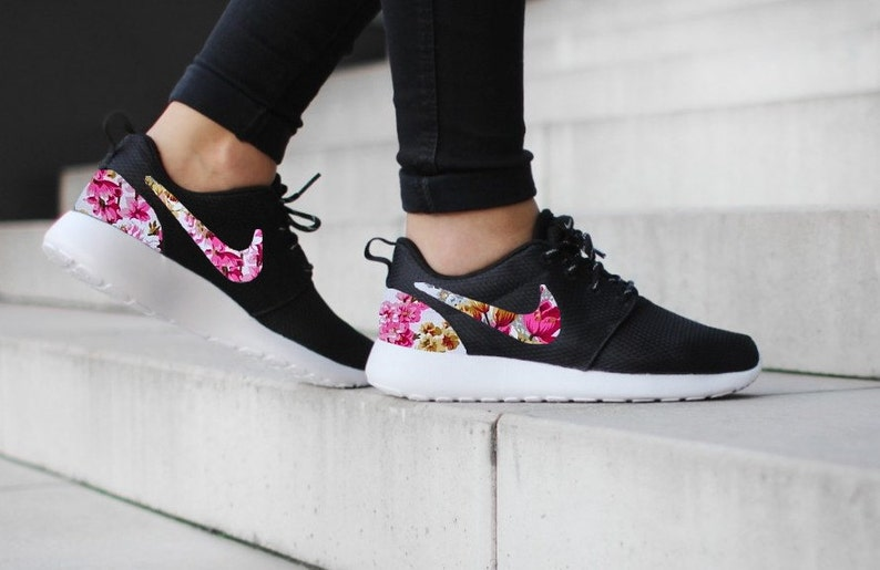 cheap for discount 1cc0f e0460 Nike Roshe Run One Black with Custom Pink Floral Print   Etsy