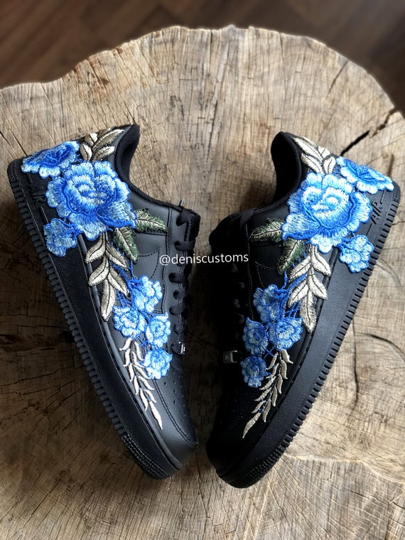 Nike Air Force 1 Low Black with Flower Bomb Blue Rose Floral Embroidered
