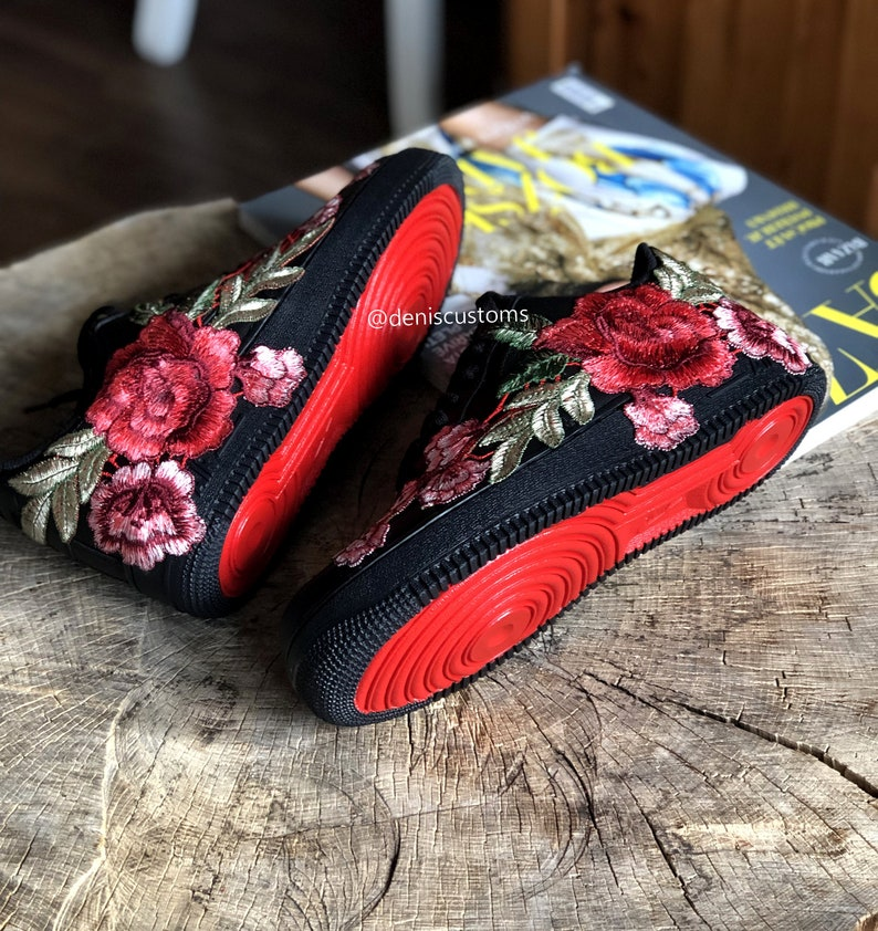 detailed look 7d413 3617a Nike Air Force 1 Low Black with Flower Bomb Red Rose Floral Embroidered and  Red Sole