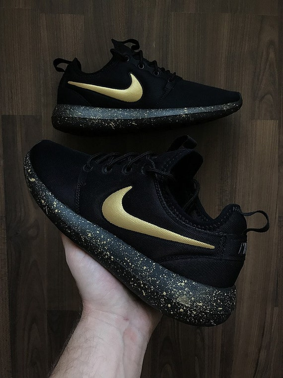 Nike Roshe Run Black with Custom Gold Swoosh and Splatter Sole Paint
