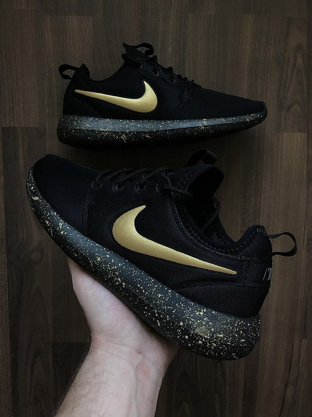 super popular 91c04 1290c ... closeout nike roshe run black with custom gold swoosh and splatter sole  etsy d84fc 413d1