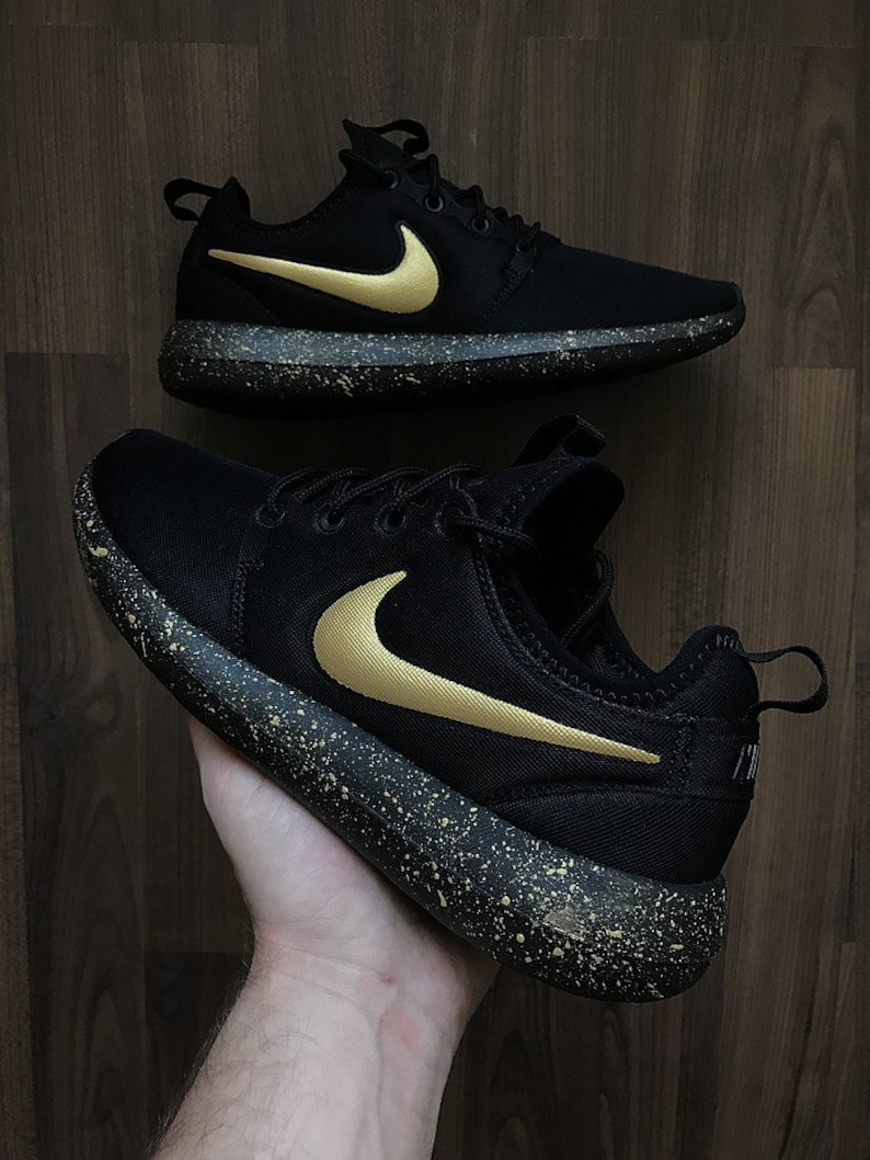 san francisco 04a8a 07f1d Nike Roshe Run Black with Custom Gold Swoosh and Splatter Sole Paint